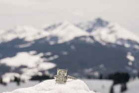 Vail Skiing Mountain Top Surprise Party Engagement